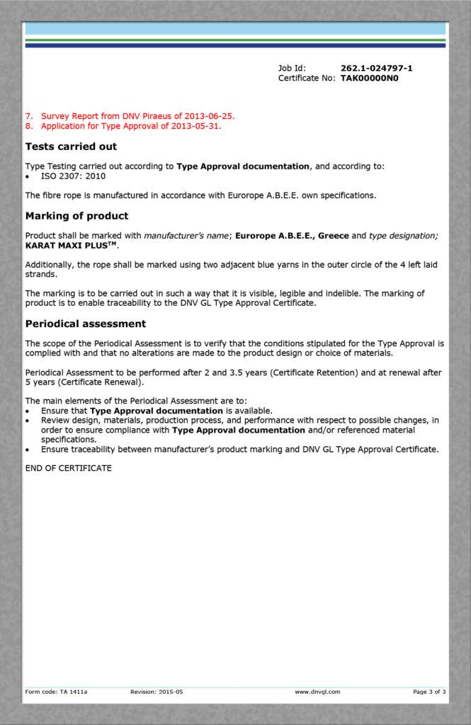 DNV Type approval cert TAK00000N0 KARAT MAXI PLUS page 3 / 3